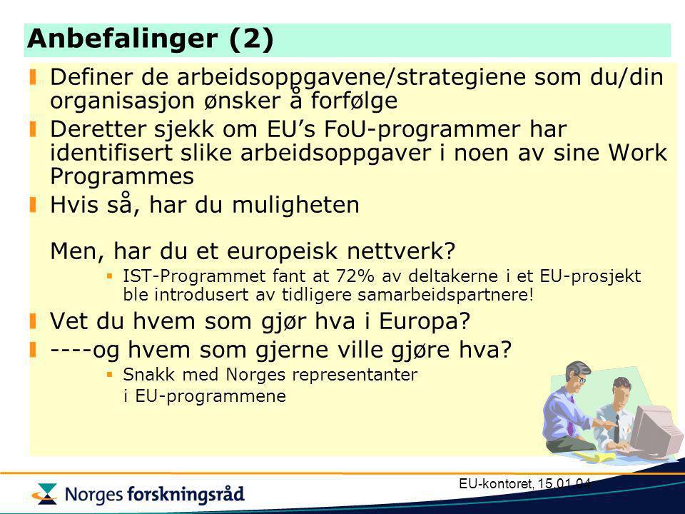 EU-kontoret, 15.01.04 Anbefalinger (1) EU's FoU-program handler om penger - -men det er ikke hovedsaken.