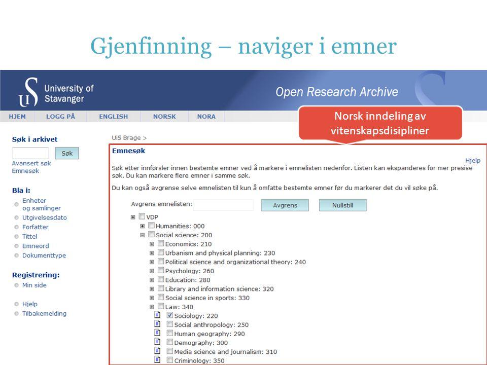 Gjenfinning – naviger i emner Norsk inndeling av vitenskapsdisipliner