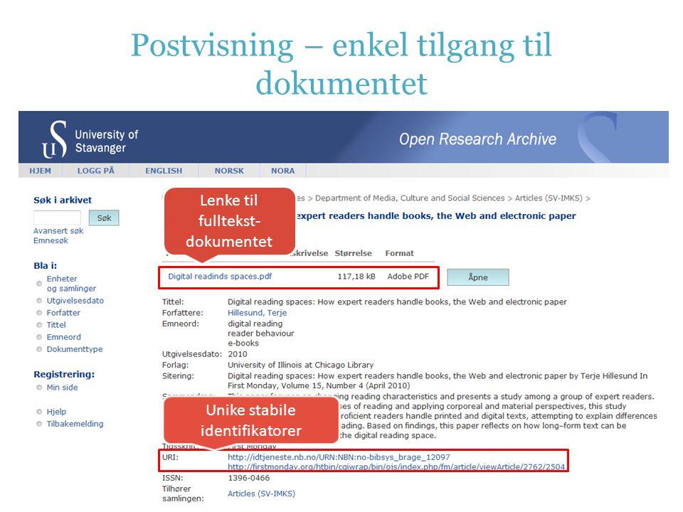 Postvisning – enkel tilgang til dokumentet Lenke til fulltekst- dokumentet Unike stabile identifikatorer