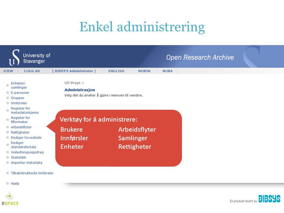 Enkel administrering Brukere Innførsler Enheter Arbeidsflyter Samlinger Rettigheter Verktøy for å administrere: