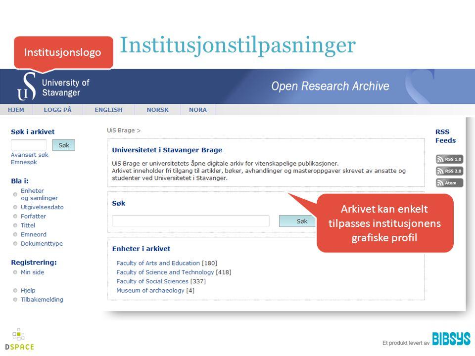 Institusjonstilpasninger Institusjonslogo Arkivet kan enkelt tilpasses institusjonens grafiske profil