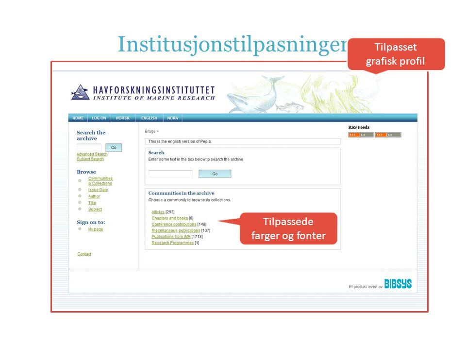Institusjonstilpasninger Tilpasset grafisk profil Tilpassede farger og fonter
