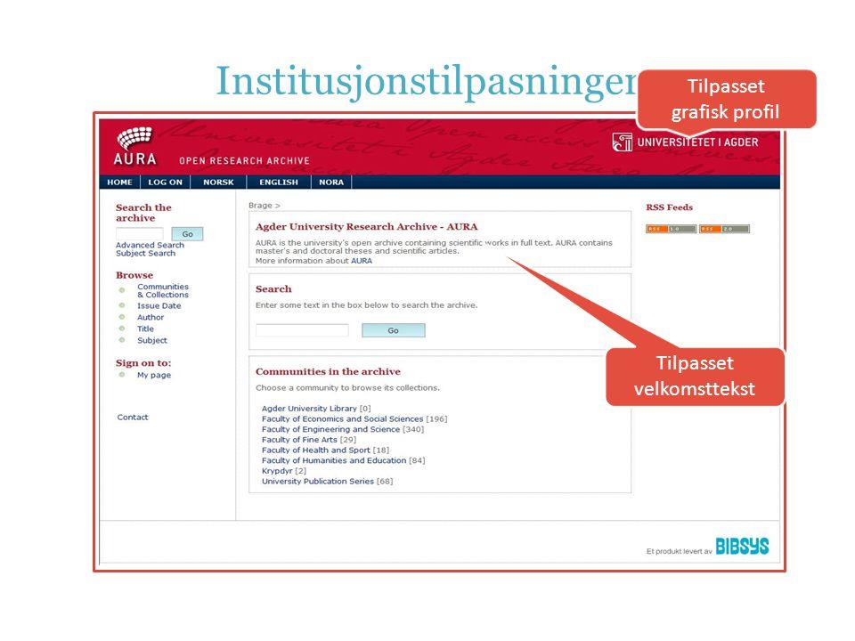 Institusjonstilpasninger Tilpasset grafisk profil Tilpasset velkomsttekst