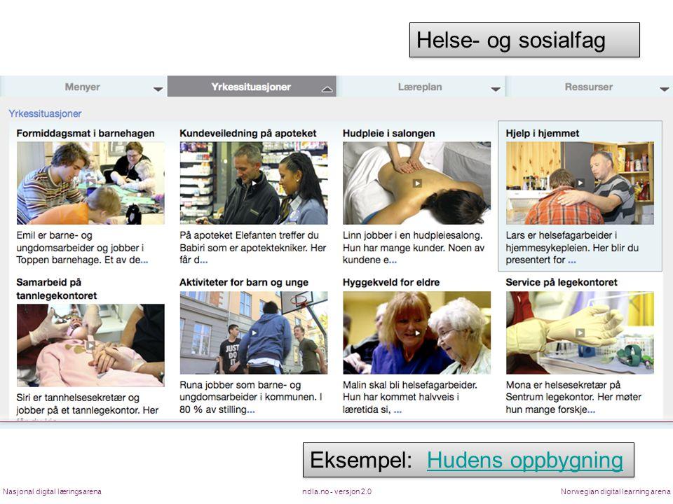 ndla.no - versjon 2.0Nasjonal digital læringsarenaNorwegian digital learning arena Eksempel: Hudens oppbygningHudens oppbygning Eksempel: Hudens oppbygningHudens oppbygning Helse- og sosialfag