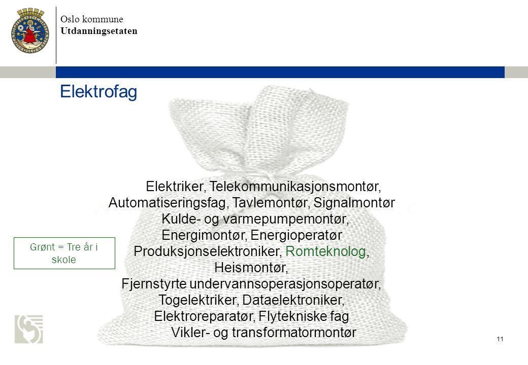 Oslo kommune Utdanningsetaten 11 Elektriker, Telekommunikasjonsmontør, Automatiseringsfag, Tavlemontør, Signalmontør Kulde- og varmepumpemontør, Energimontør, Energioperatør Produksjonselektroniker, Romteknolog, Heismontør, Fjernstyrte undervannsoperasjonsoperatør, Togelektriker, Dataelektroniker, Elektroreparatør, Flytekniske fag Vikler- og transformatormontør Elektrofag Grønt = Tre år i skole