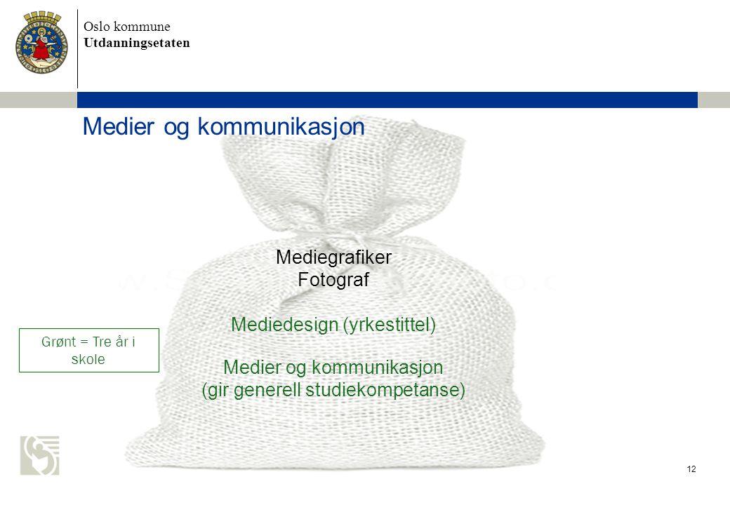 Oslo kommune Utdanningsetaten Medier og kommunikasjon 12 Mediegrafiker Fotograf Mediedesign (yrkestittel) Medier og kommunikasjon (gir generell studiekompetanse) Grønt = Tre år i skole