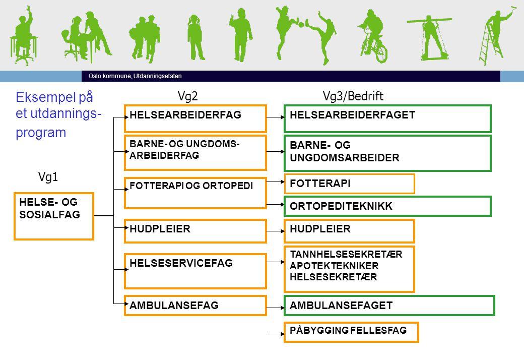 Oslo kommune, Utdanningsetaten Vg2Vg3/Bedrift HELSE- OG SOSIALFAG HELSEARBEIDERFAG BARNE- OG UNGDOMS- ARBEIDERFAG FOTTERAPI OG ORTOPEDI HELSESERVICEFAG AMBULANSEFAG HUDPLEIER HELSEARBEIDERFAGET BARNE- OG UNGDOMSARBEIDER HUDPLEIER FOTTERAPI TANNHELSESEKRETÆR APOTEKTEKNIKER HELSESEKRETÆR AMBULANSEFAGET PÅBYGGING FELLESFAG Vg1 Eksempel p å et utdannings- program ORTOPEDITEKNIKK