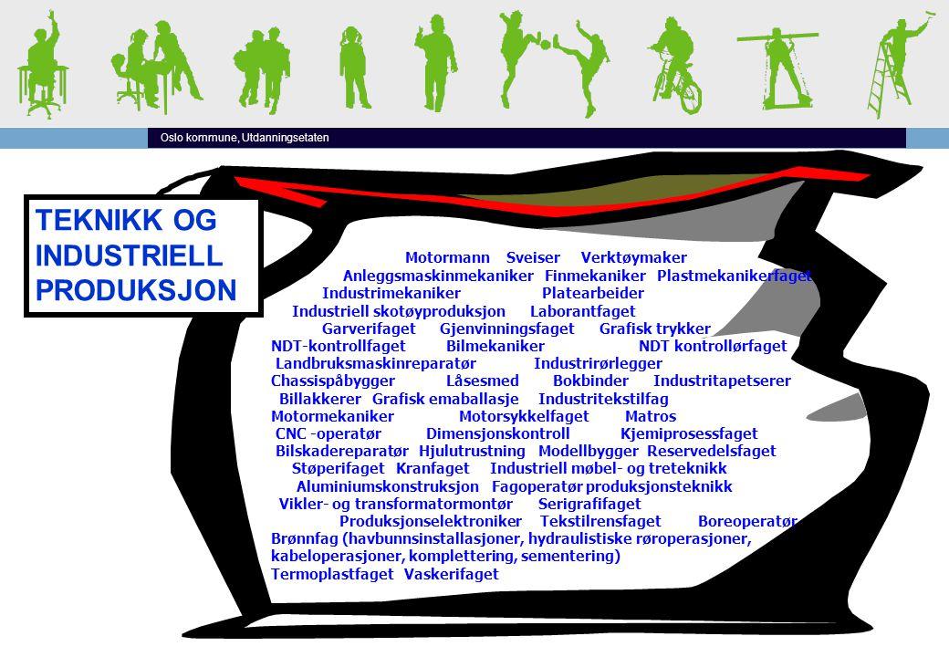 Oslo kommune, Utdanningsetaten TEKNIKK OG INDUSTRIELL PRODUKSJON Motormann Sveiser Verktøymaker Anleggsmaskinmekaniker Finmekaniker Plastmekanikerfage