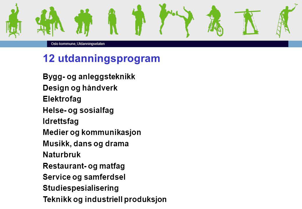 Oslo kommune, Utdanningsetaten 12 utdanningsprogram Bygg- og anleggsteknikk Design og håndverk Elektrofag Helse- og sosialfag Idrettsfag Medier og kom