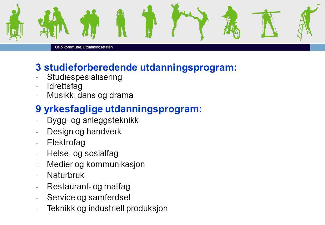 Oslo kommune, Utdanningsetaten 3 studieforberedende utdanningsprogram: -Studiespesialisering -Idrettsfag -Musikk, dans og drama 9 yrkesfaglige utdanni