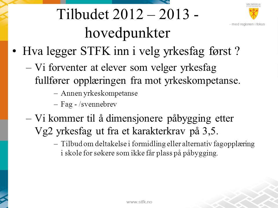 - med regionen i fokus www.stfk.no Tilbudet 2012 – 2013 - hovedpunkter •Hva legger STFK inn i velg yrkesfag først .