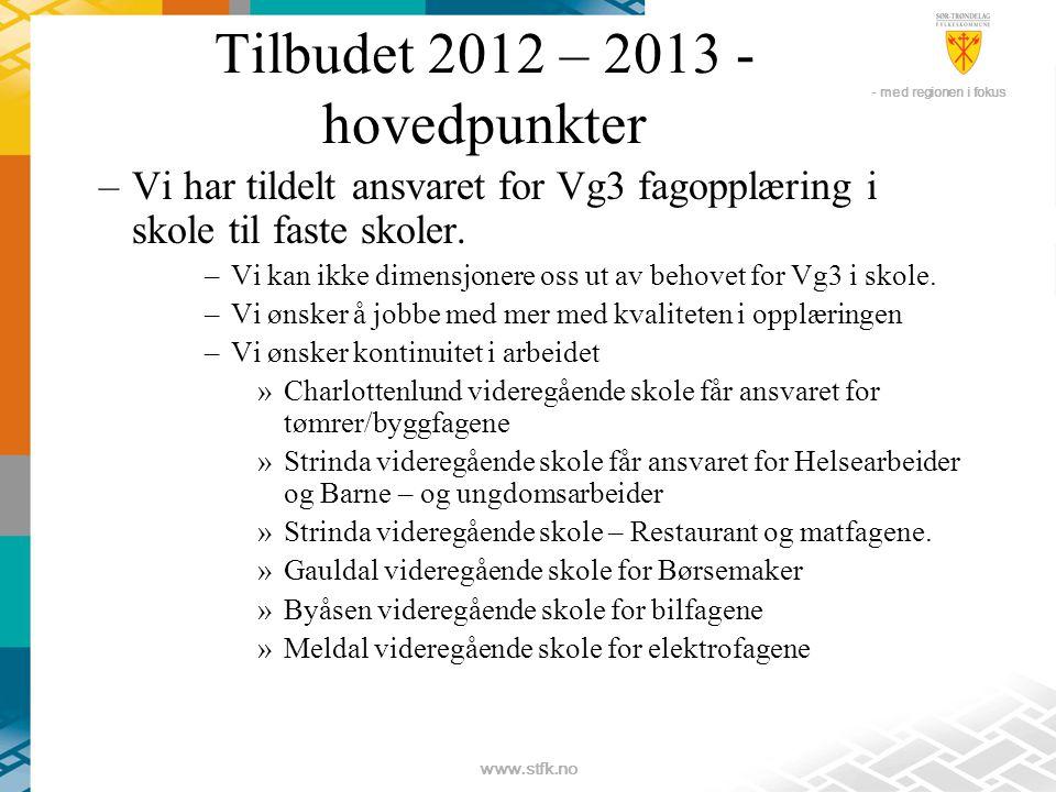 - med regionen i fokus www.stfk.no Tilbudet 2012 – 2013 - hovedpunkter –Vi har tildelt ansvaret for Vg3 fagopplæring i skole til faste skoler.