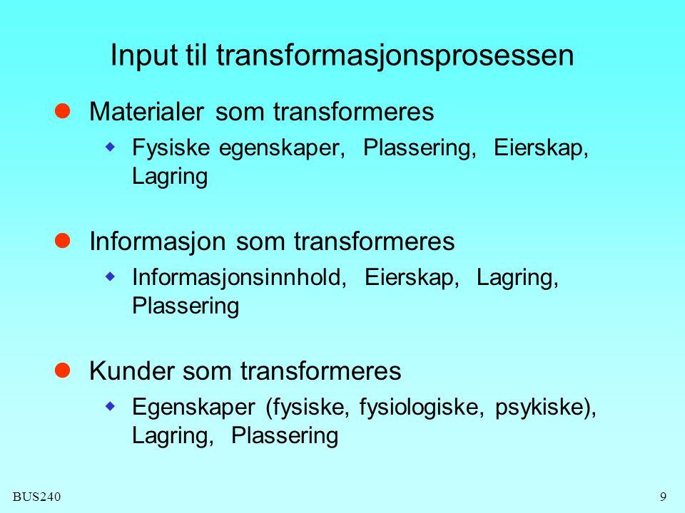 BUS2409 Input til transformasjonsprosessen  Materialer som transformeres  Fysiske egenskaper, Plassering, Eierskap, Lagring  Informasjon som transf