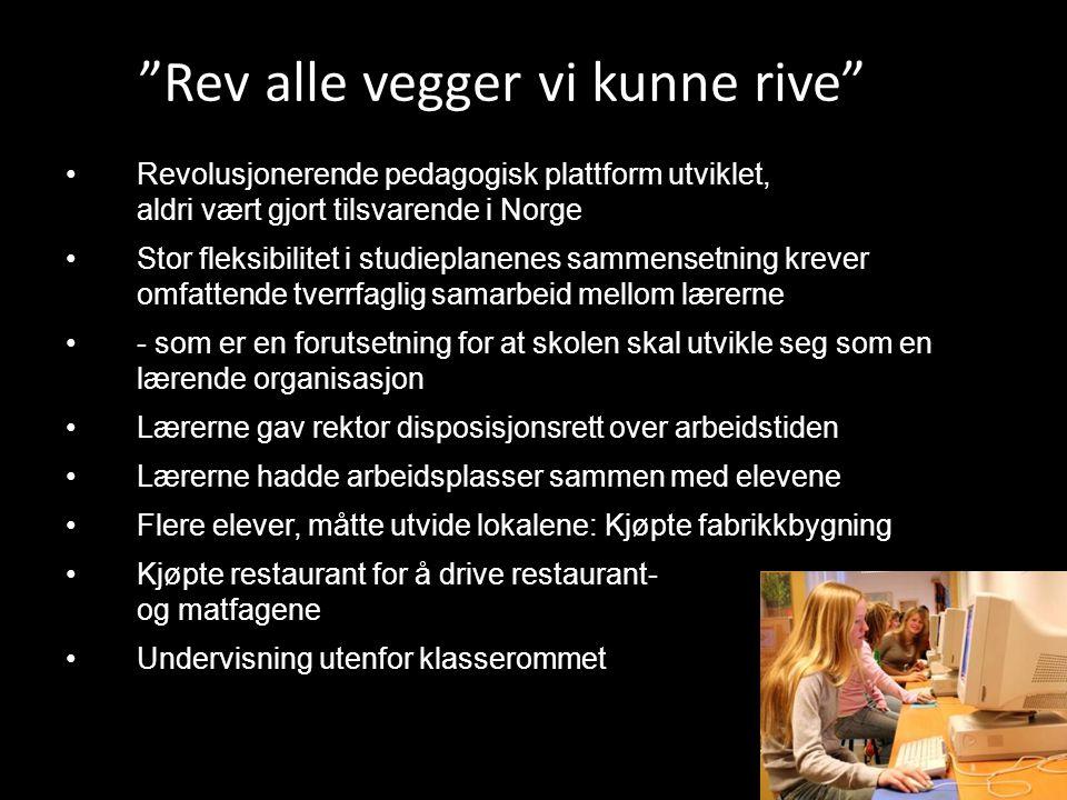 •Revolusjonerende pedagogisk plattform utviklet, aldri vært gjort tilsvarende i Norge •Stor fleksibilitet i studieplanenes sammensetning krever omfatt