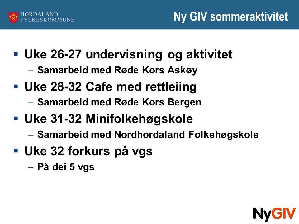 Ny GIV sommeraktivitet  Uke 26-27 undervisning og aktivitet –Samarbeid med Røde Kors Askøy  Uke 28-32 Cafe med rettleiing –Samarbeid med Røde Kors B