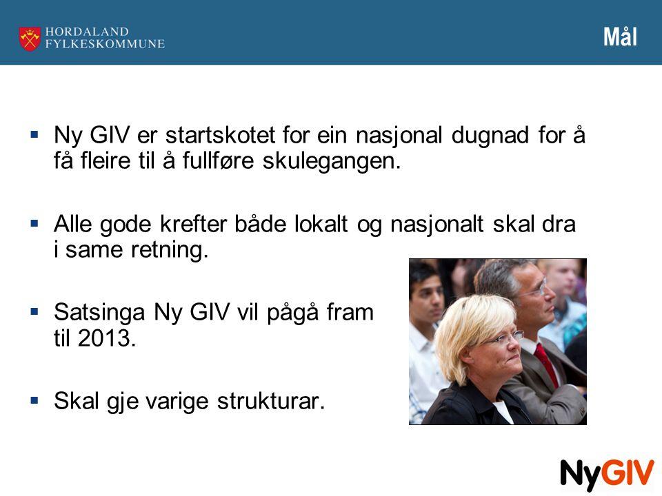 Mål  Ny GIV er startskotet for ein nasjonal dugnad for å få fleire til å fullføre skulegangen.  Alle gode krefter både lokalt og nasjonalt skal dra