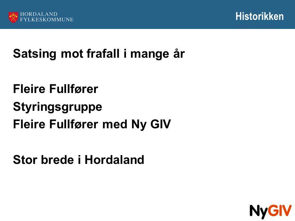 Historikken Satsing mot frafall i mange år Fleire Fullfører Styringsgruppe Fleire Fullfører med Ny GIV Stor brede i Hordaland