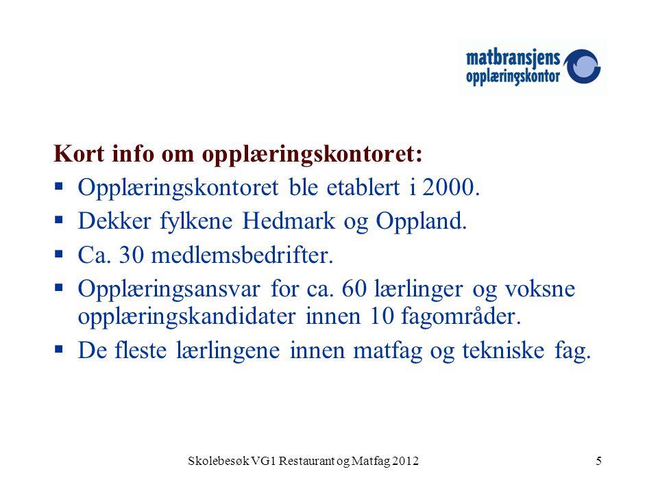 Skolebesøk VG1 Restaurant og Matfag 20125 Kort info om opplæringskontoret:  Opplæringskontoret ble etablert i 2000.  Dekker fylkene Hedmark og Oppla