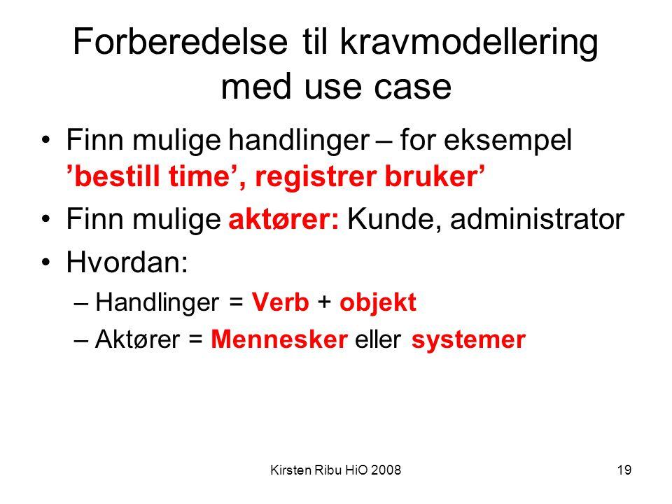 Kirsten Ribu HiO 200819 Forberedelse til kravmodellering med use case •Finn mulige handlinger – for eksempel 'bestill time', registrer bruker' •Finn m
