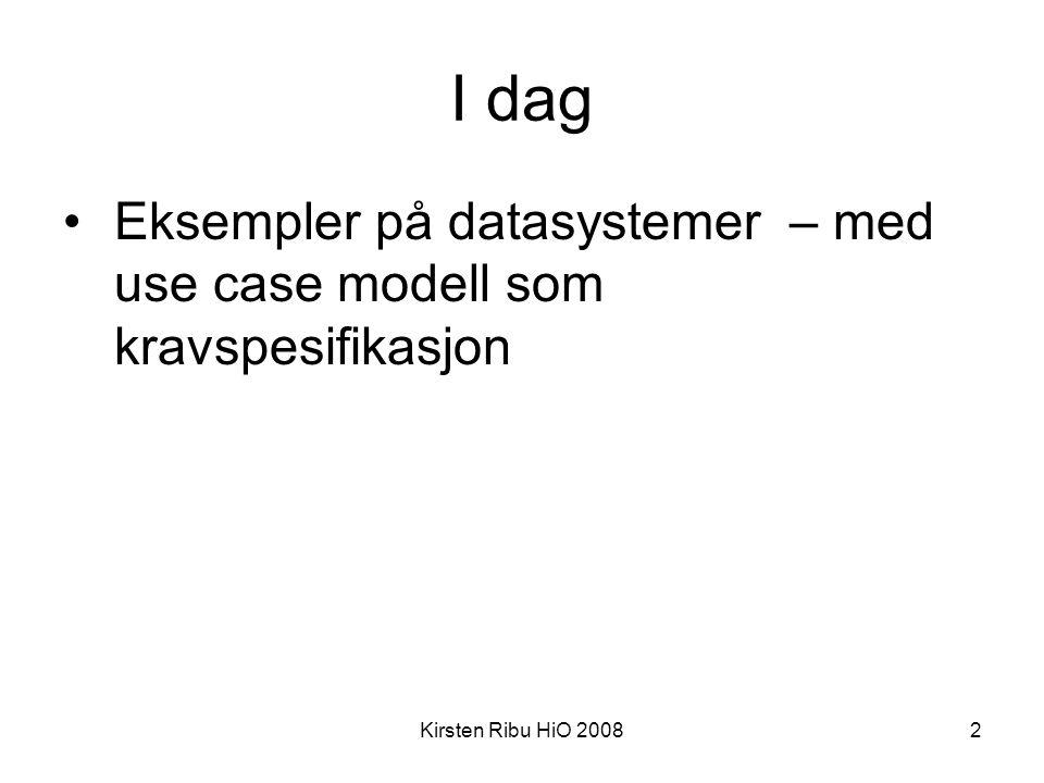 Kirsten Ribu HiO 20082 I dag •Eksempler på datasystemer – med use case modell som kravspesifikasjon
