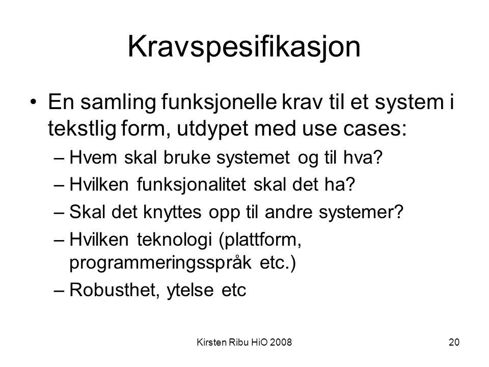 Kirsten Ribu HiO 200820 Kravspesifikasjon •En samling funksjonelle krav til et system i tekstlig form, utdypet med use cases: –Hvem skal bruke systeme