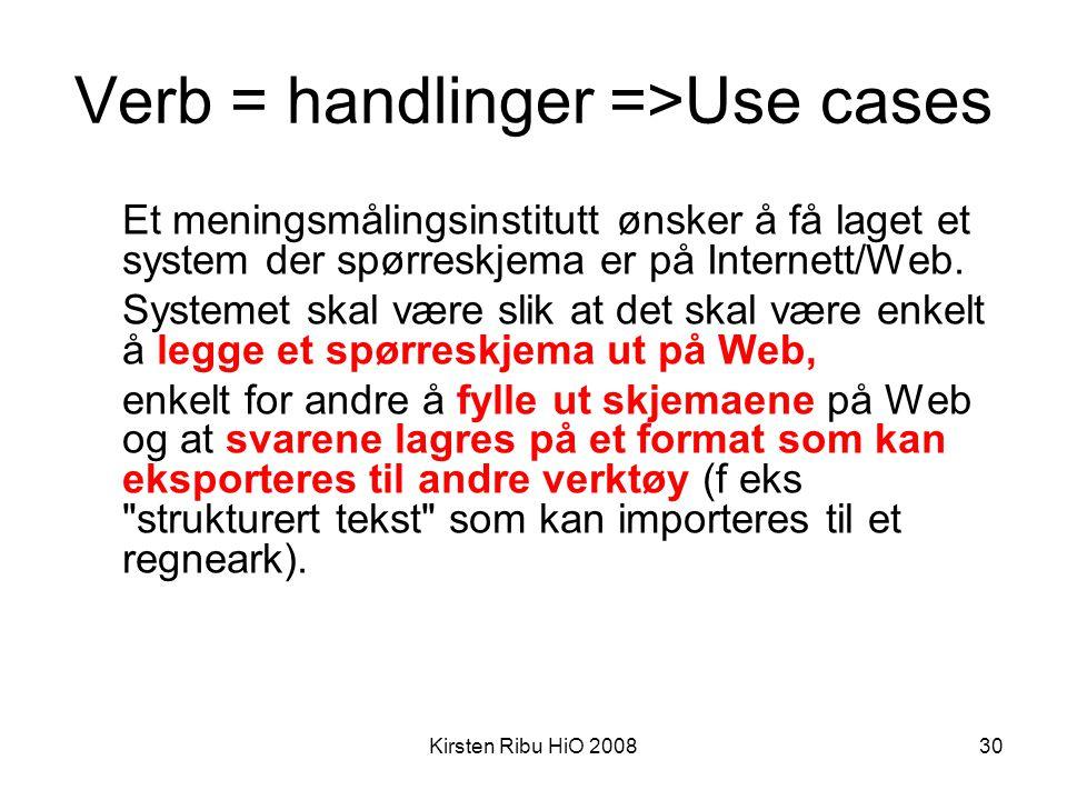 Kirsten Ribu HiO 200830 Verb = handlinger =>Use cases Et meningsmålingsinstitutt ønsker å få laget et system der spørreskjema er på Internett/Web. Sys