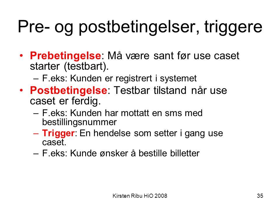 Kirsten Ribu HiO 200835 Pre- og postbetingelser, triggere •Prebetingelse: Må være sant før use caset starter (testbart). –F.eks: Kunden er registrert