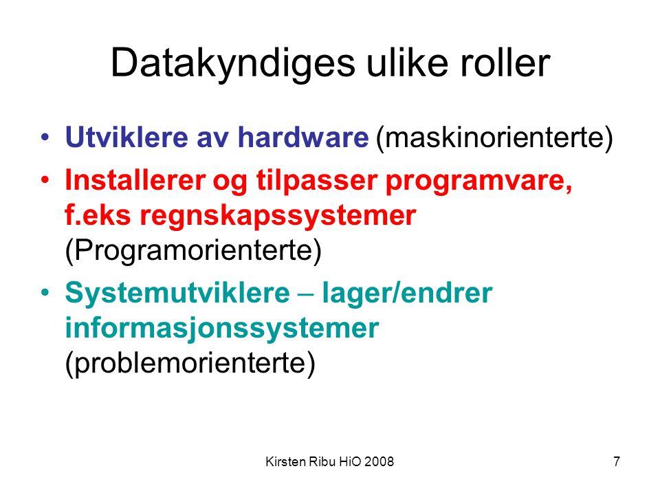 Kirsten Ribu HiO 20087 Datakyndiges ulike roller •Utviklere av hardware (maskinorienterte) •Installerer og tilpasser programvare, f.eks regnskapssyste
