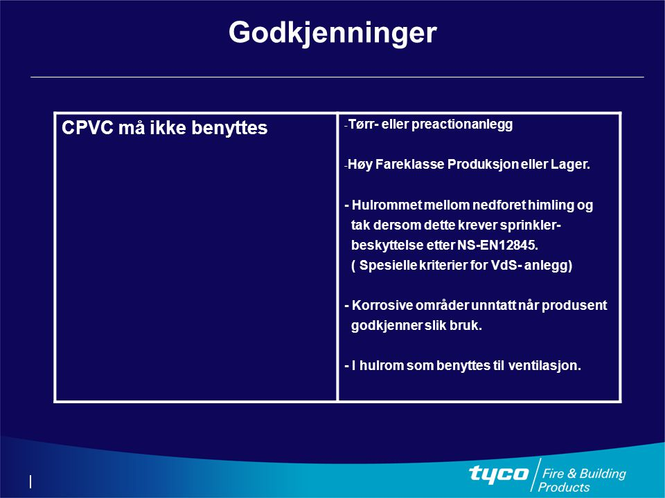 Godkjenninger CPVC må ikke benyttes - Tørr- eller preactionanlegg - Høy Fareklasse Produksjon eller Lager. - Hulrommet mellom nedforet himling og tak