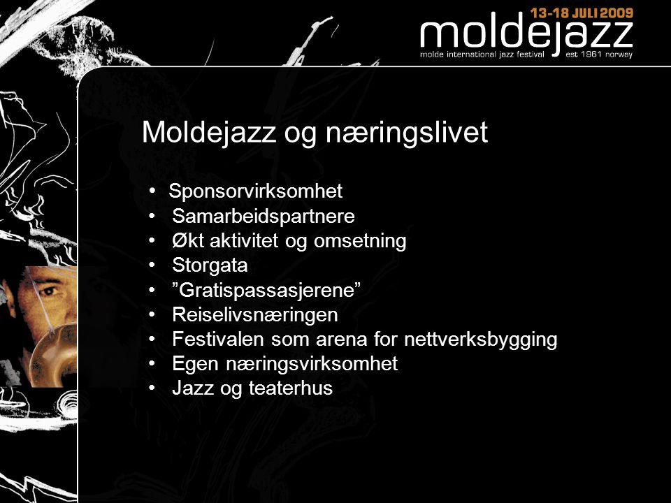"""Moldejazz og næringslivet • Sponsorvirksomhet • Samarbeidspartnere • Økt aktivitet og omsetning • Storgata • """"Gratispassasjerene"""" • Reiselivsnæringen"""