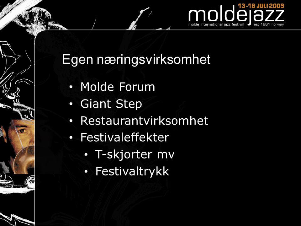 Egen næringsvirksomhet • Molde Forum • Giant Step • Restaurantvirksomhet • Festivaleffekter • T-skjorter mv • Festivaltrykk