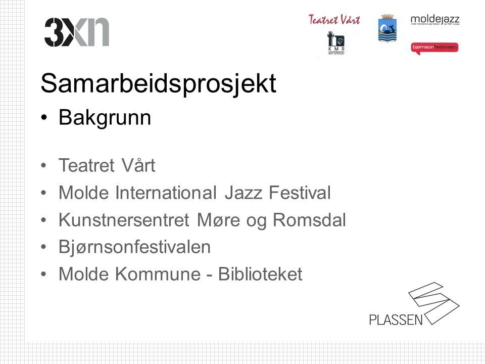 Samarbeidsprosjekt •Bakgrunn •Teatret Vårt •Molde International Jazz Festival •Kunstnersentret Møre og Romsdal •Bjørnsonfestivalen •Molde Kommune - Bi