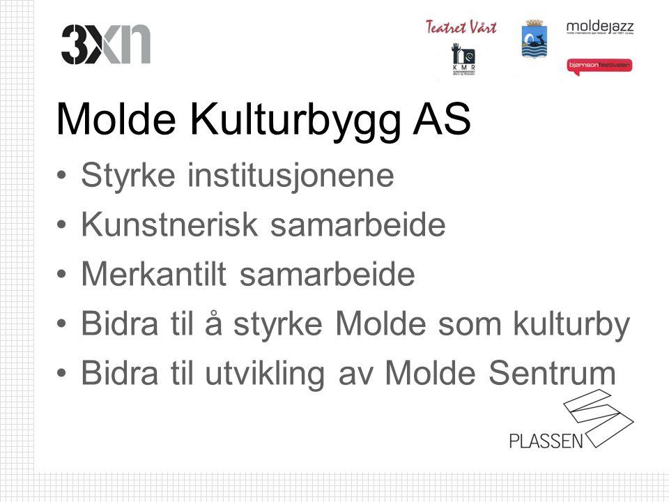 Molde Kulturbygg AS •Styrke institusjonene •Kunstnerisk samarbeide •Merkantilt samarbeide •Bidra til å styrke Molde som kulturby •Bidra til utvikling av Molde Sentrum