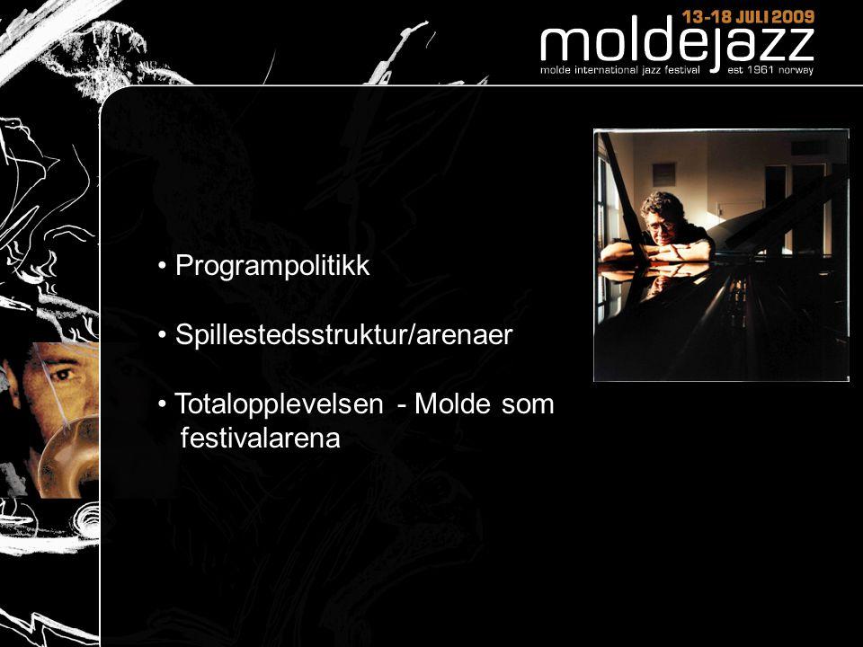 • Programpolitikk • Spillestedsstruktur/arenaer • Totalopplevelsen - Molde som festivalarena