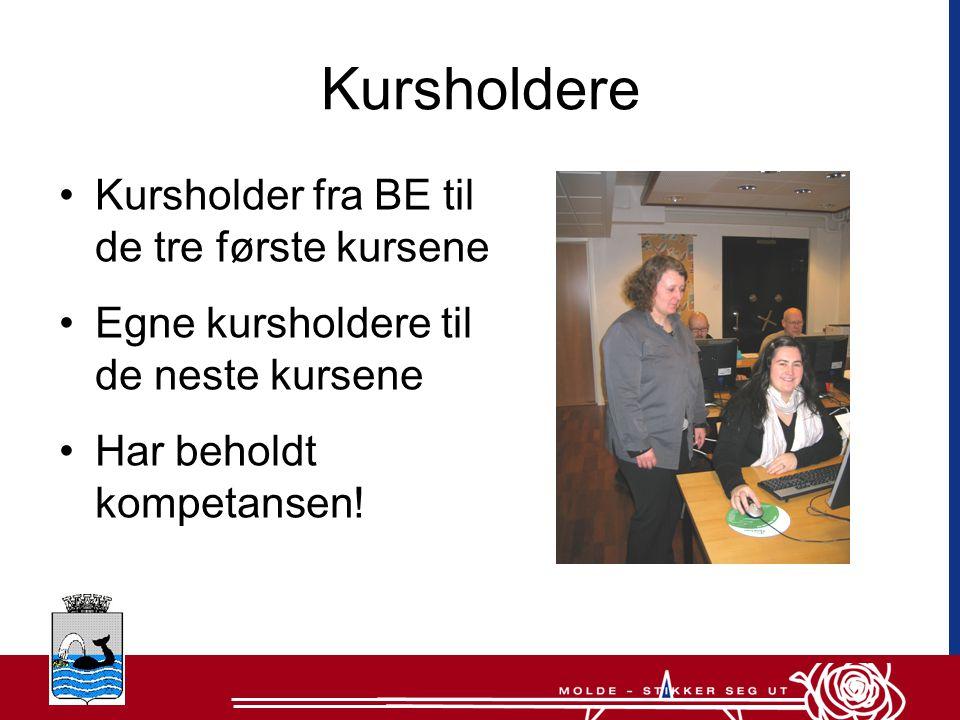 Kursholdere •Kursholder fra BE til de tre første kursene •Egne kursholdere til de neste kursene •Har beholdt kompetansen!