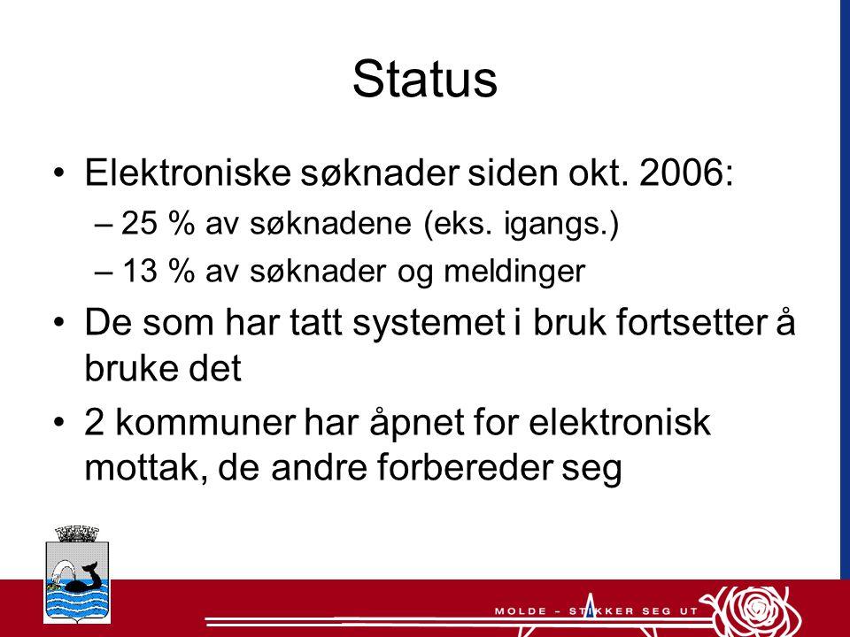 Status •Elektroniske søknader siden okt.2006: –25 % av søknadene (eks.