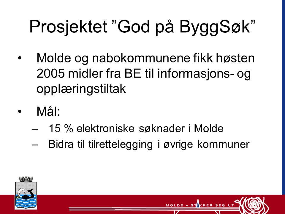 Prosjektet God på ByggSøk •Molde og nabokommunene fikk høsten 2005 midler fra BE til informasjons- og opplæringstiltak •Mål: –15 % elektroniske søknader i Molde –Bidra til tilrettelegging i øvrige kommuner