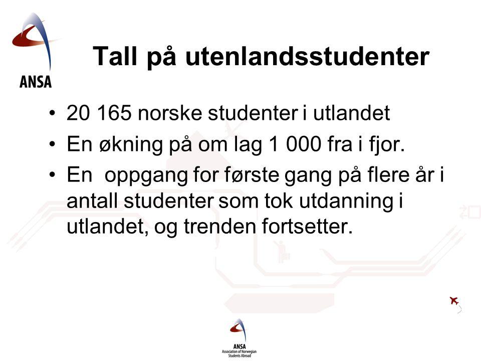 Tall på utenlandsstudenter •20 165 norske studenter i utlandet •En økning på om lag 1 000 fra i fjor. •En oppgang for første gang på flere år i antall
