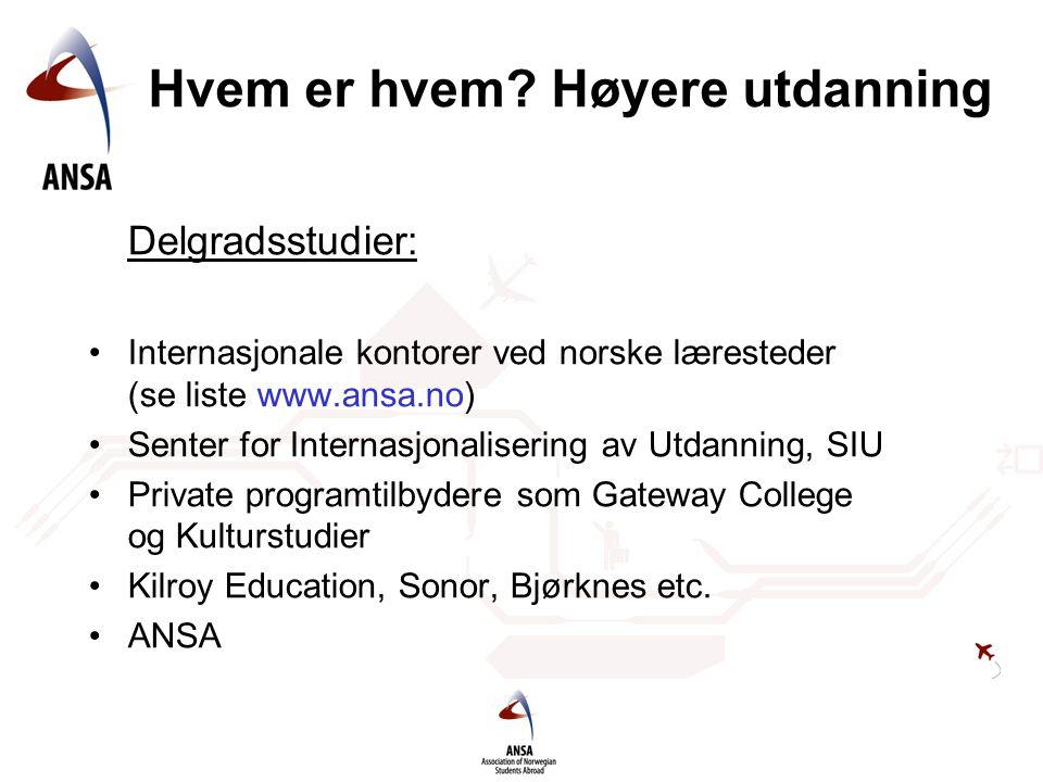 Hvem er hvem? Høyere utdanning Delgradsstudier: •Internasjonale kontorer ved norske læresteder (se liste www.ansa.no) •Senter for Internasjonalisering