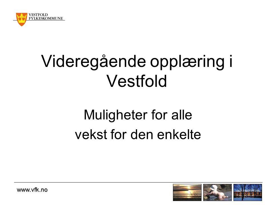 www.vfk.no Fakta om videregående opplæring •10 videregående skoler •Skole for sosiale og medisinske institusjoner (SMI) •En fagskole •En folkehøgskole •Et kompetansesenter for læringsutvikling (OT/PPT og syns- og audiopedagogtjeneste) •Kompetansesenter i Tønsberg og Sandefjord •Et karrieresenter (VFK og NAV)