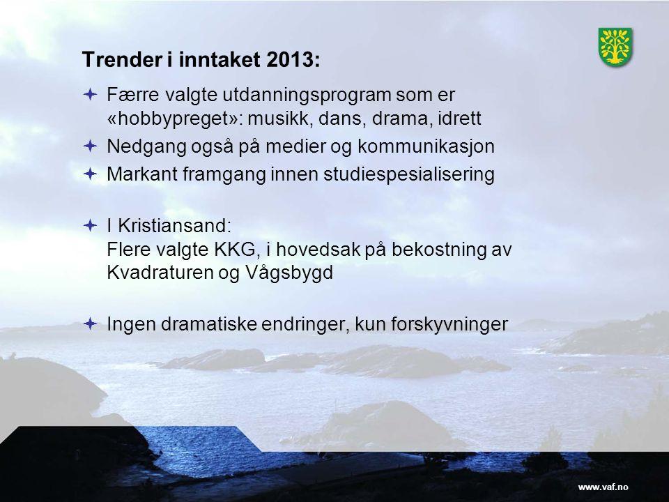 www.vaf.no Trender i inntaket 2013:  Færre valgte utdanningsprogram som er «hobbypreget»: musikk, dans, drama, idrett  Nedgang også på medier og kom