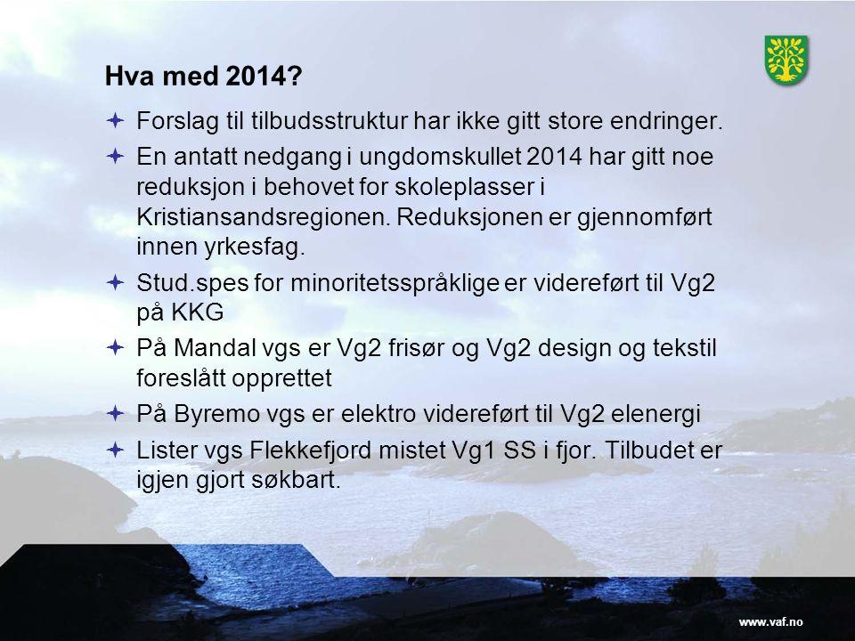 www.vaf.no Hva med 2014?  Forslag til tilbudsstruktur har ikke gitt store endringer.  En antatt nedgang i ungdomskullet 2014 har gitt noe reduksjon