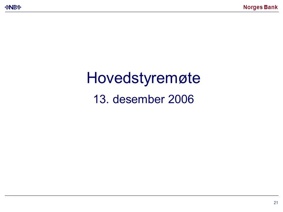 Norges Bank 21 Hovedstyremøte 13. desember 2006