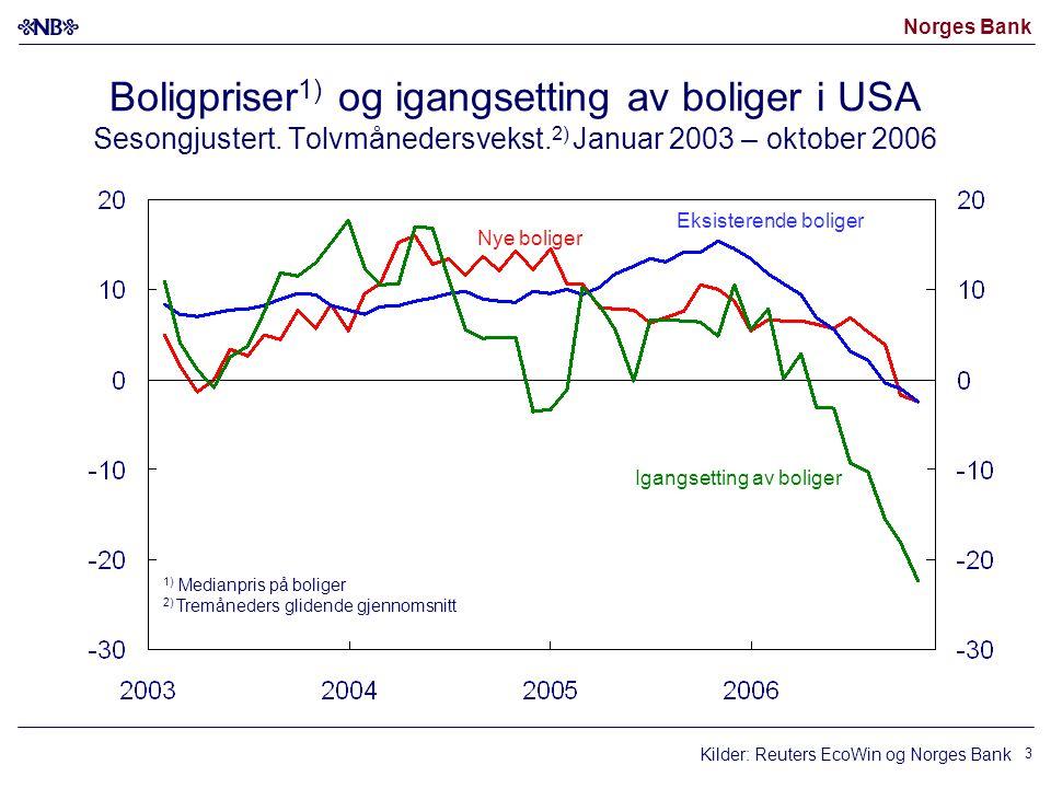 Norges Bank 14 Lønnsvekst – utbetalt lønn Vekst fra samme kvartal året før.