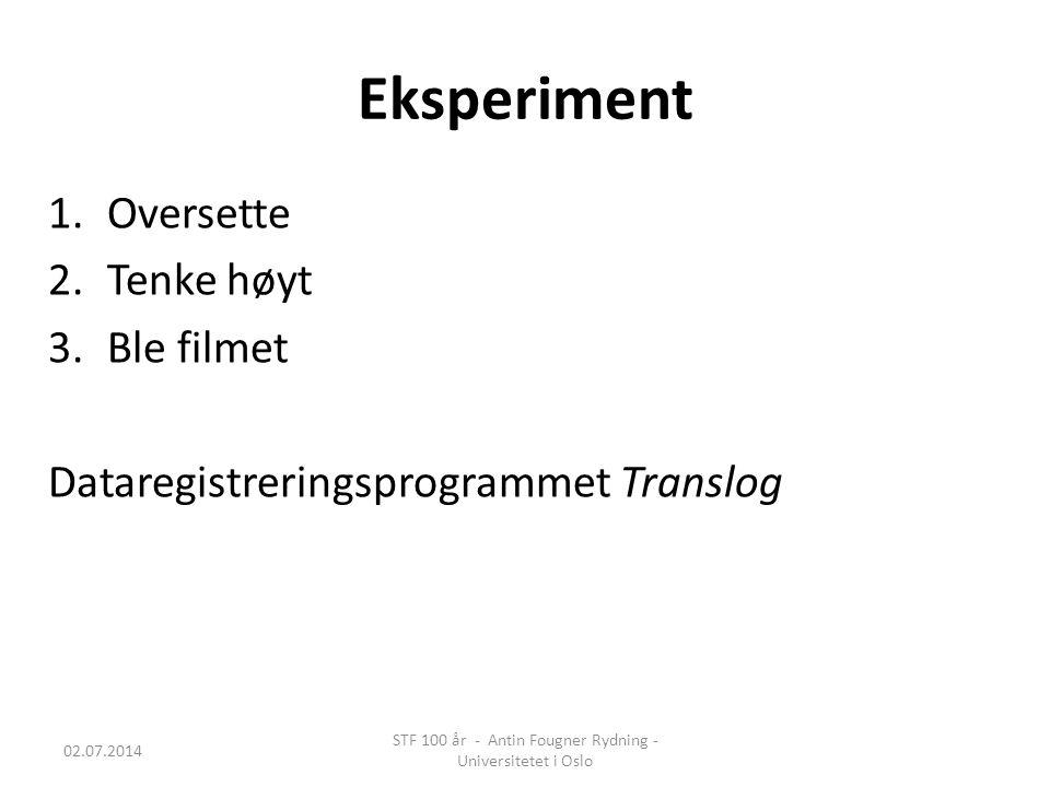 Eksperiment 1.Oversette 2.Tenke høyt 3.Ble filmet Dataregistreringsprogrammet Translog 02.07.2014 STF 100 år - Antin Fougner Rydning - Universitetet i