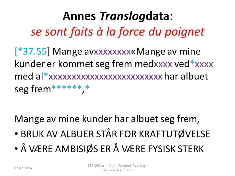 Annes Translogdata: se sont faits à la force du poignet [*37.55] Mange avxxxxxxxx«Mange av mine kunder er kommet seg frem medxxxx ved*xxxx med al*xxxx