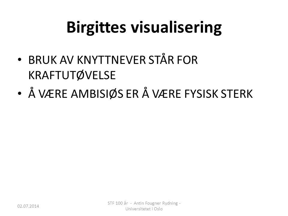 Birgittes visualisering • BRUK AV KNYTTNEVER STÅR FOR KRAFTUTØVELSE • Å VÆRE AMBISIØS ER Å VÆRE FYSISK STERK 02.07.2014 STF 100 år - Antin Fougner Ryd