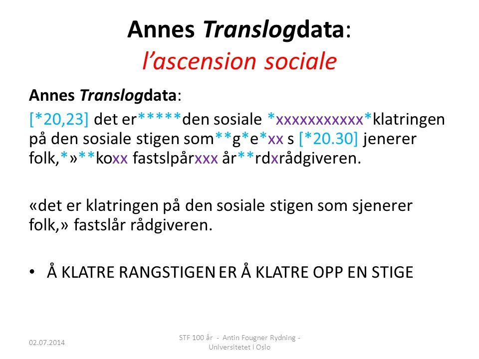 Annes Translogdata: l'ascension sociale Annes Translogdata: [*20,23] det er*****den sosiale *xxxxxxxxxxx*klatringen på den sosiale stigen som**g*e*xx