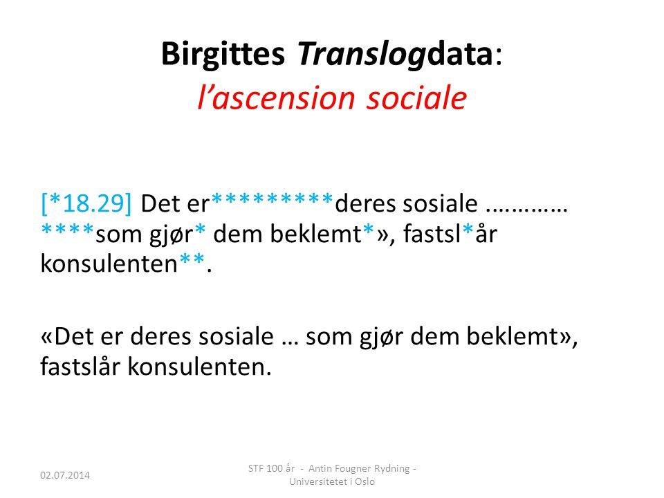 Birgittes Translogdata: l'ascension sociale [*18.29] Det er*********deres sosiale.………… ****som gjør* dem beklemt*», fastsl*år konsulenten**. «Det er d