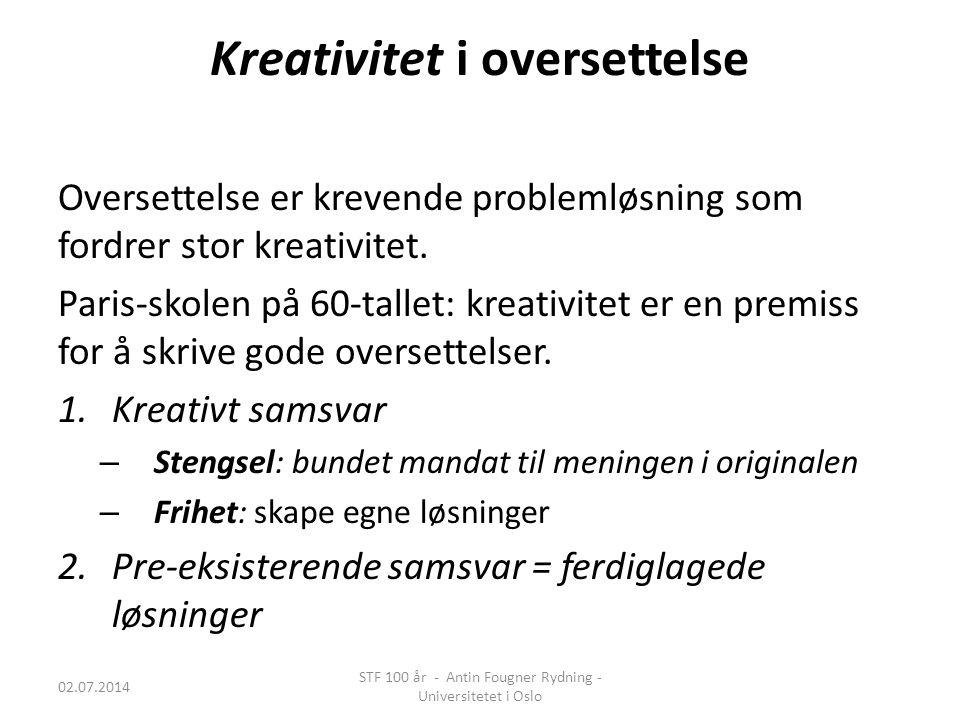 Pre-eksisterende samsvar 02.07.2014 STF 100 år - Antin Fougner Rydning - Universitetet i Oslo